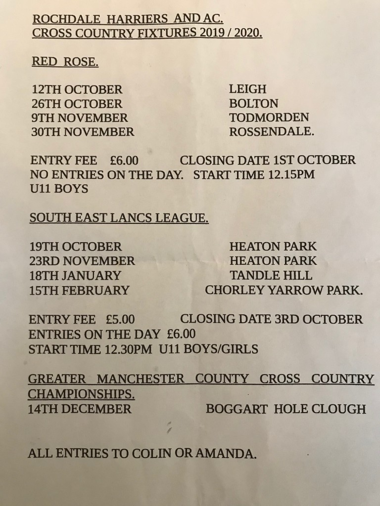 2019 2020 Cross Country fixtures Rochdale Harriers and AC